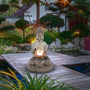 led solar buddha garten leuchte au en lampe blumen beet beleuchtung terrassen ebay. Black Bedroom Furniture Sets. Home Design Ideas