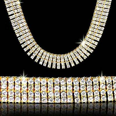 MENS 14K GOLD PLATED 4 ROW ICED OUT HIP HOP BLING CZ CHAIN NECKLACE