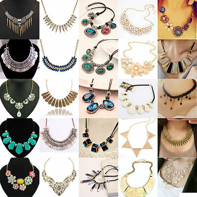 Exquisite Charm Chain Statement Bib Chunky Collar Pendant Necklace Women Jewelry
