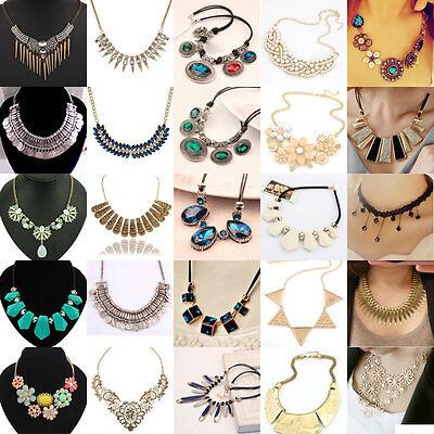 Exquisite Charm Chain Statement Bib Chunky Collar Pendant Necklace Women Jewelry