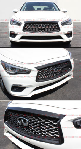 FOR:2018-2020 INFINITI Q50 CARBON FIBER FRONT GRILL OUTLINE TRIM COVER OVERLAY