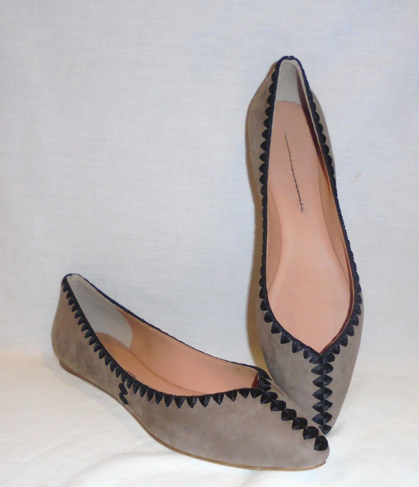 Sigerson Morrison Women's Vinal Suede Stitched Ballet Flats Retail  278 size 7