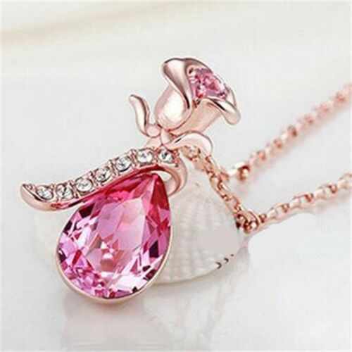 Unique Teardrop Pink Crystal flower Necklace Present Love gift for her Women
