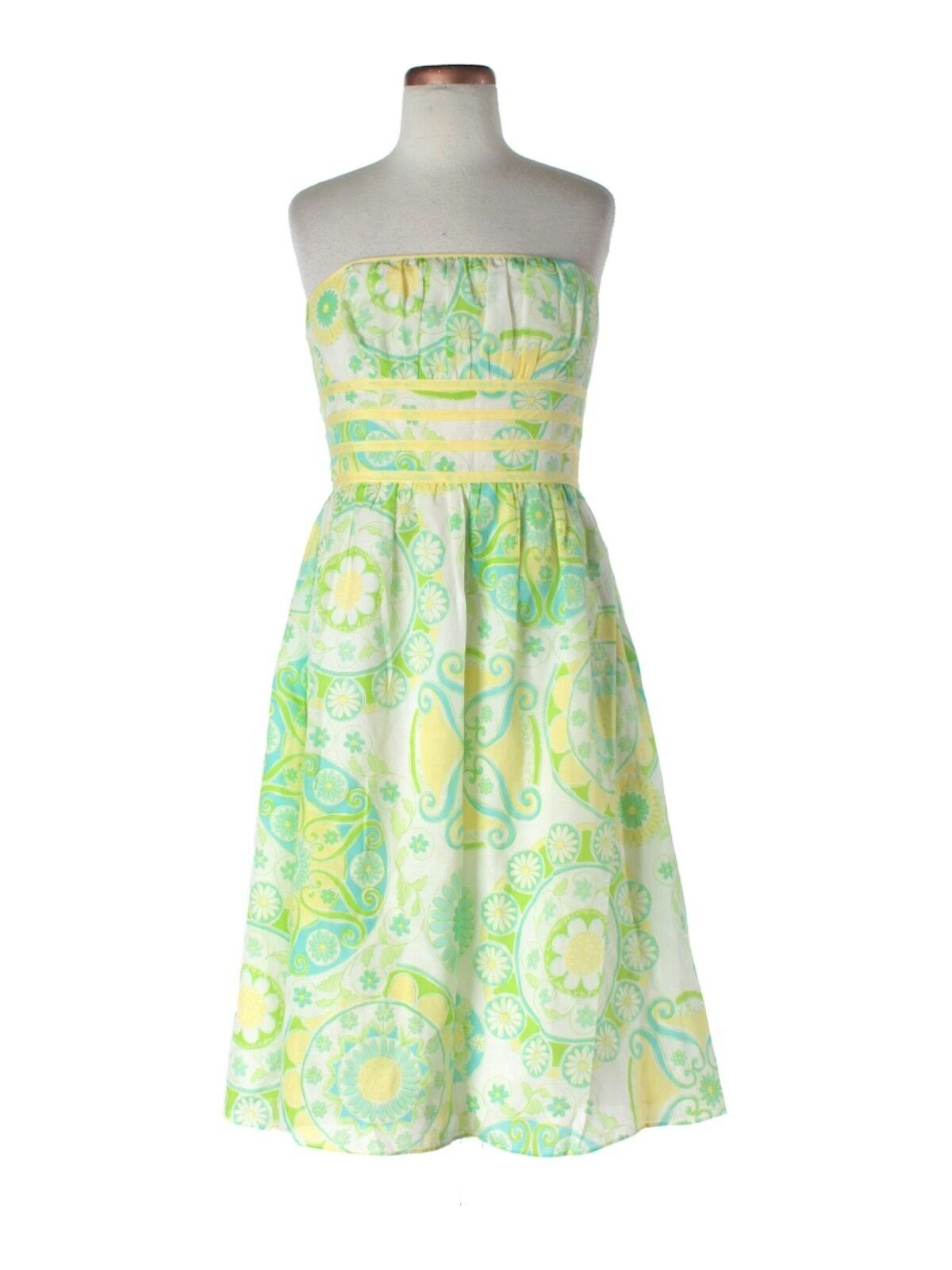 Women Lilly Pulitzer Fountain of Youth Yellow Green Strapless  Dress Size 0
