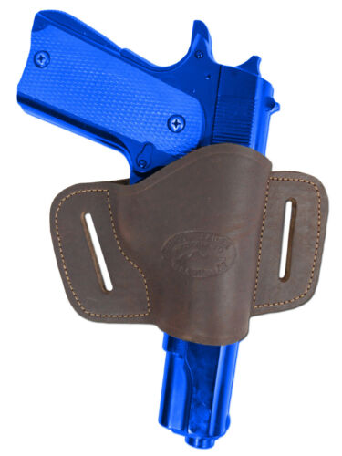 New Barsony Brown Leather Gun Quick Slide Holster Sig-Sauer Full Size 9mm 40 45