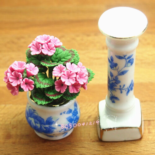 Dollhouse Miniature 112 Porcelaine Flowerpot Shelf With Handmade Flower SPO231