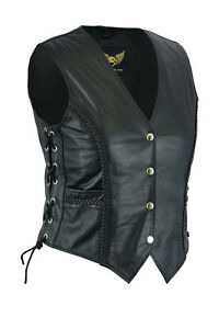 New-Soft-Black-Women-Ladies-Genuine-Leather-Side-Lace-Braided-Waistcoat-Vest