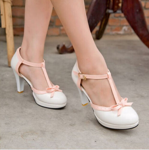 women T strap chunky heels bowknot ankle strap Mary Janes shoes gothic sandals