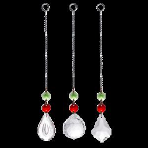 LONGWIN Set 3 Red Crystal Suncatcher Pull Chain Ornament Garden Window Decor