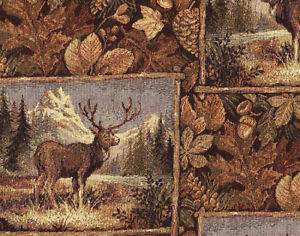 91 Rustic Cabin Outdoors Themed Tapestry Upholstery Fabric By