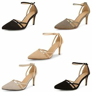 Womens Party Prom Pointed Toe Wedding Bridal Ankle Strappy Sandals Shoes Size