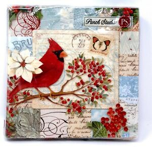 Punch Studio 20 Paper Luncheon Dinner Napkins Christmas Cardinal Holly