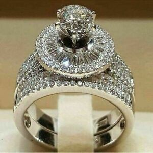 2PCS-3-64CT-Huge-White-Sapphire-Gemstone-Wedding-Ring-925-Silver-Jewelry-Sz-5-10