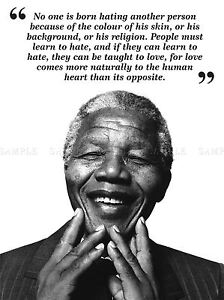 NO ONE IS BORN HATING NELSON MANDELA BW TYPOGRAPHY QUOTE POSTER QU306A