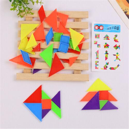 4Set 7-Rainbow Color Tangram DIY Plastic Brain Puzzle Kids Educational Toys HQ