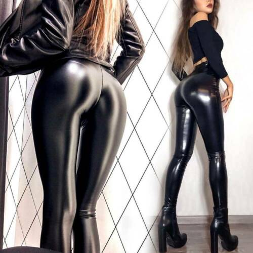 Faux Leather Wet Look Mat Matt Leggings Shiny Full Tight HIGH WAIST Anke Length