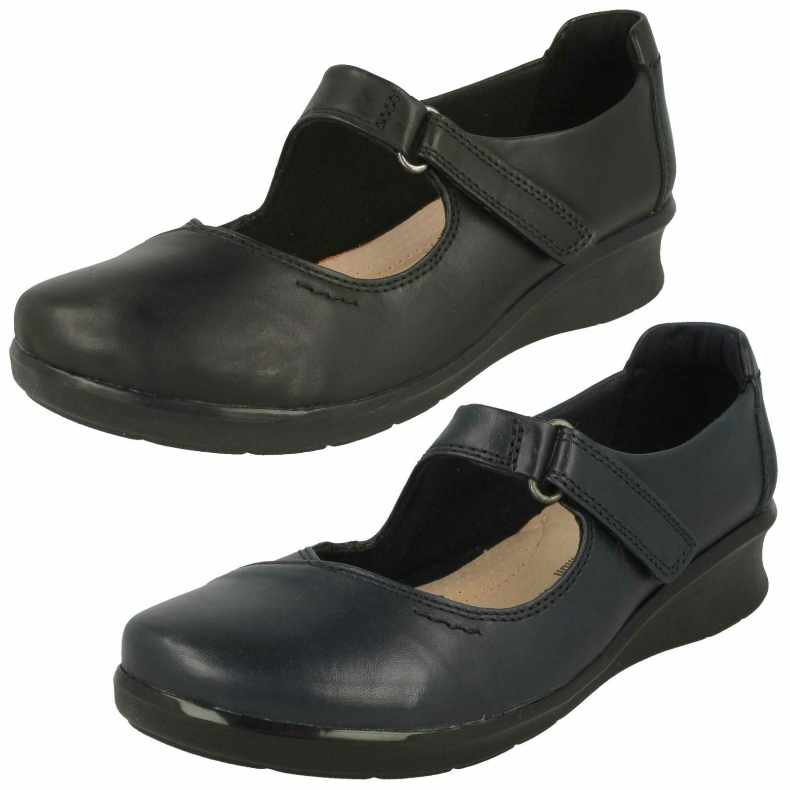 Damas Clarks Cuero Bajo Cuña Mary Jane Zapatos Zapatos Zapatos Casuales Bar esperanza Henley de Ancho Talla  Disfruta de un 50% de descuento.