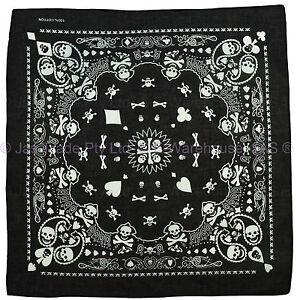 Bandana-Head-Wrap-Cover-Black-White-Paisley-Skull-Cross-Bones-Ace-Spade-POKER