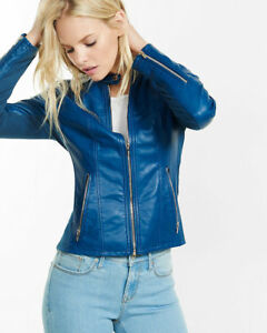 fc891e9a1ef64 Image is loading New-Womens-Lambskin-Leather-Jacket-Stylish-Motorcycle-Slim-
