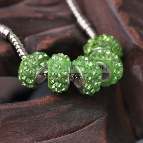 10pcs metal gros trou Cristal Strass Pave Loose Spacer Beads Charm Bracelets
