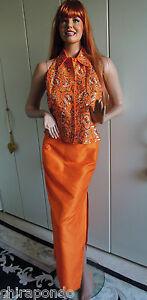 Abendkleid-Abendrock-Weste-Gr-36-Gr-38-orange-Perlen-Pailletten-Seide-sexy