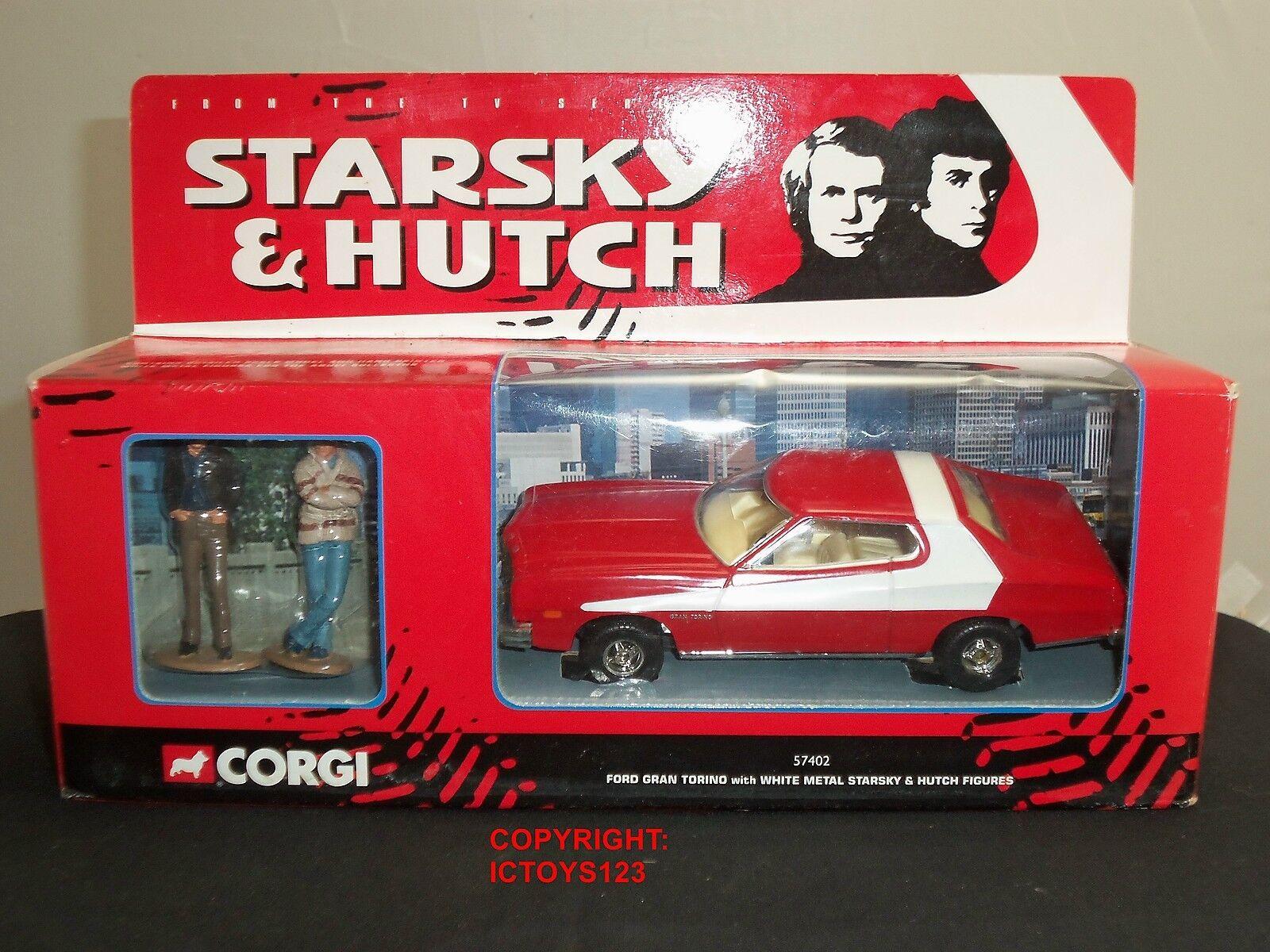 CORGI 57402 STARSKY + HUTCH FORD GRAN TORINO Diecast Auto Rossa + Figure in metallo