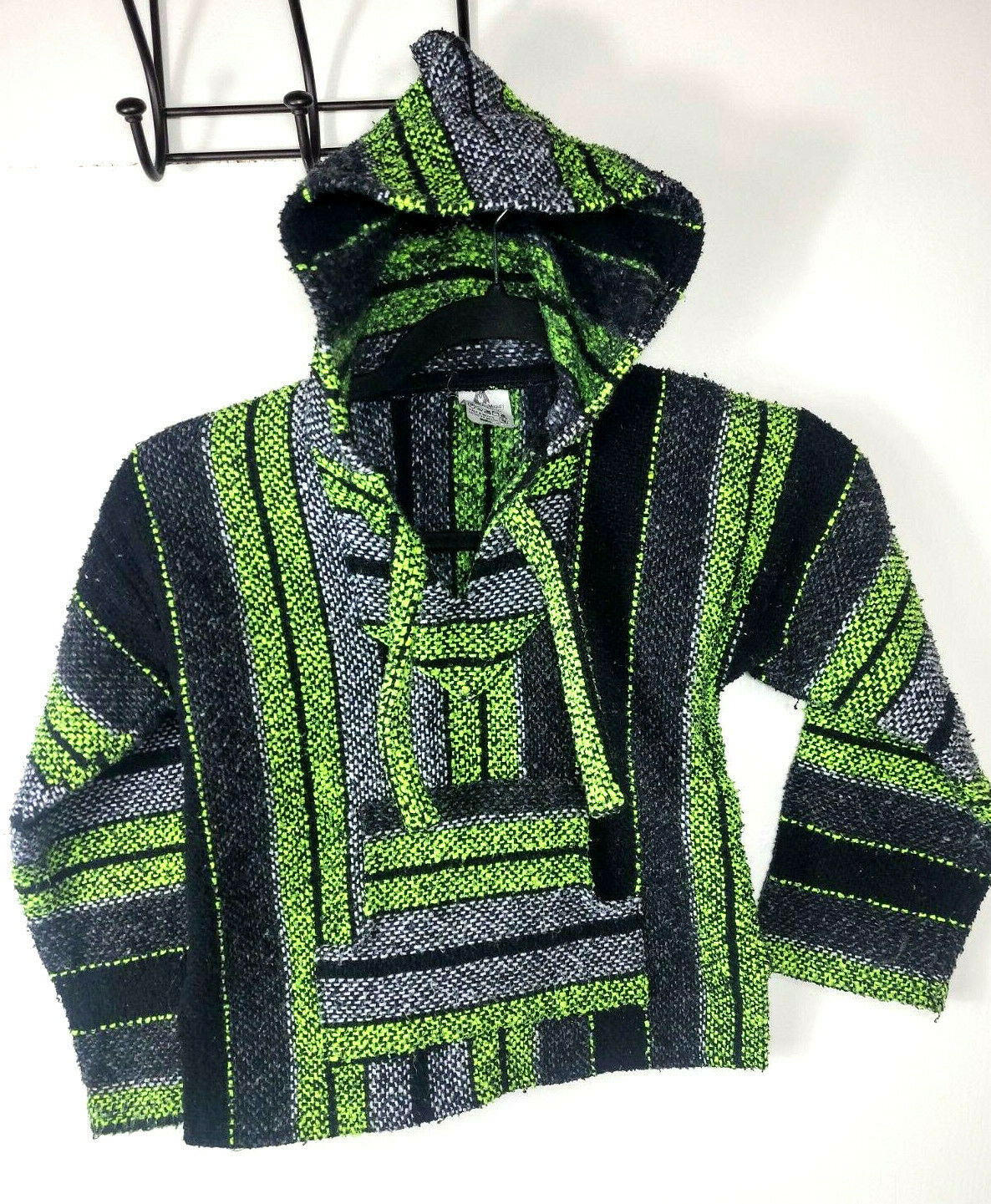 Artesanias Mickey Poncho Mexican Blanket / Hoodie ~ Youth Size 4 ~ Black yellow