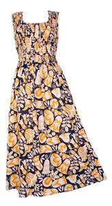 100/% Cotton Long Boho Maxi Dress Sleeveless Party Evening Size 14 16 18 20 22 24