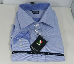Rosso-Milano-Italy-Men-039-s-Modern-Fit-Dress-Shirt-Long-Sleeve-Sz-4XL-18-Navy-White