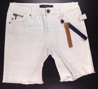 Tinsel Jean Shorts Size 7 White Flat Zip Long Cut Off Stretch Denim Pants