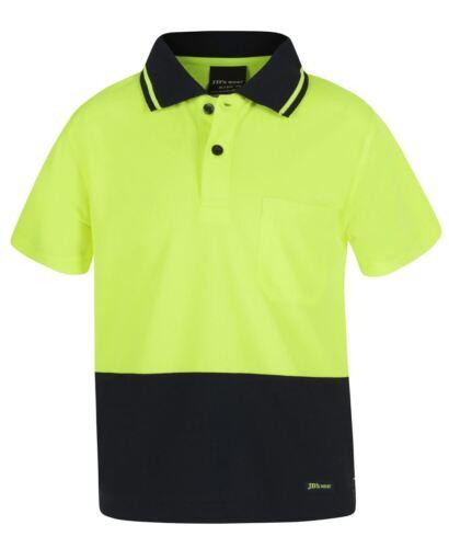 Straight Hem Jb/'s wear Kids hi-vis Safety Polo chest pocket Quick Drying UPF50