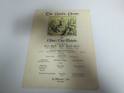 Brave The Lord's Prayer By Albert Hay Malotte 1935 G Schirmer Sheet Music Discounts Price Voice Instruction Books, Cds & Video