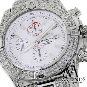 cb1a27c5a5f Image is loading Breitling-Super-Avenger-White-A13370-Covered-Over-12Ct-