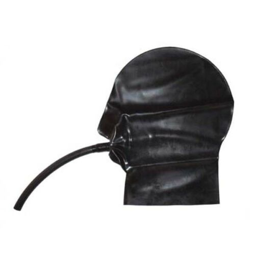 Latex Mask Rubber Hood with Mouth Tube Pipe