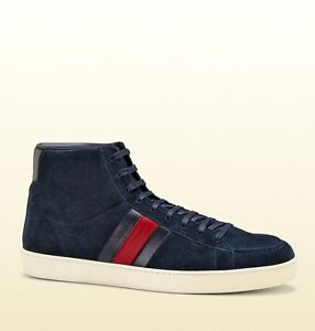 b785762bdca Details about New Authentic Gucci Mens Suede High-top Sneaker w/BRB Leather  Web Detail, 337221