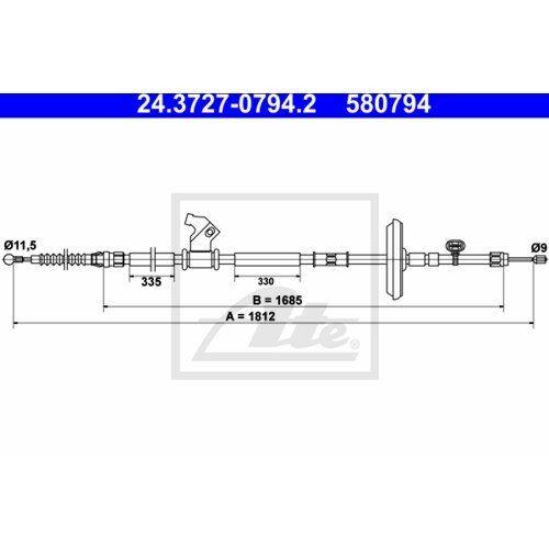 FTE Handbremsseil Bremsseil Seilzug Feststellbremse Hinten links FBS17087
