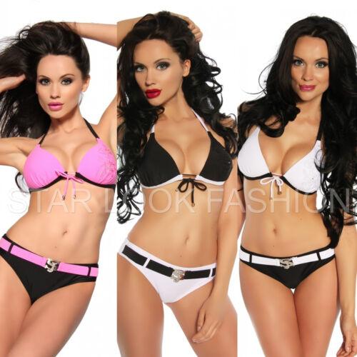 Push-Up Bikini Set Oberteil Neckholder Top Gürtel Slip S M L weiß schwarz pink