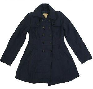 Paris Blue Women's Short Trench Coat Jacket Large Ladies Plaid Wool Blend Jacket