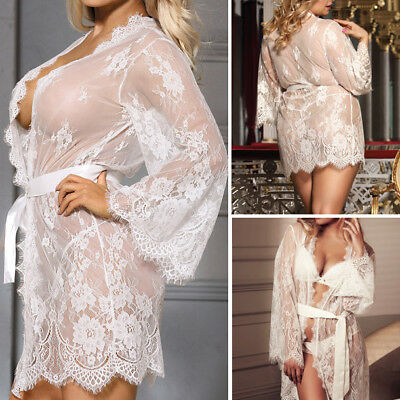 white sheer floral lace gown dress chemise nightie