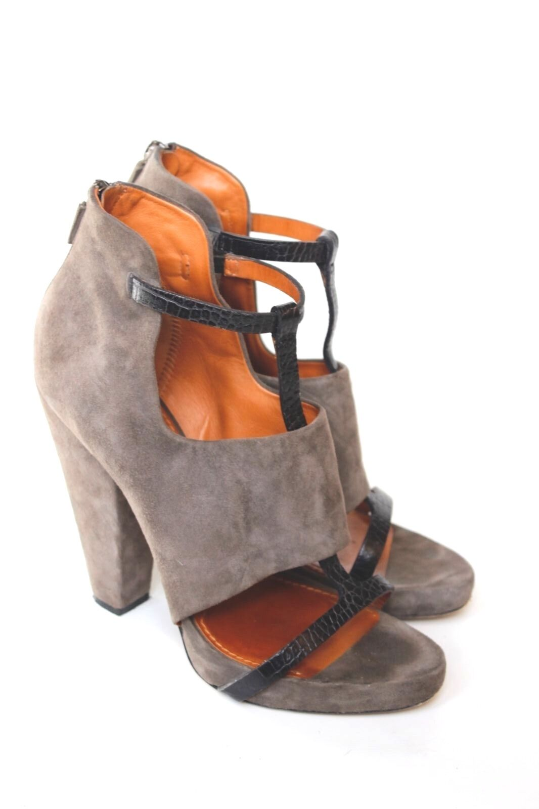 Givenchy Out Taupe Grey Suede Leather T Bar Cut Out Givenchy Boots 40 uk 7 58c205
