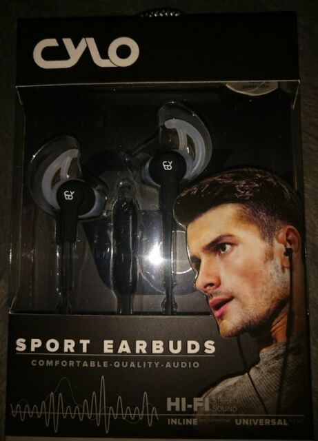 fbcac97c2fe CYLO Sport Edge Earbuds Wired In-Ear Headphones w/ In-line Mic Blk ...