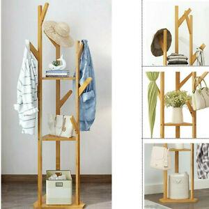 3 Ablage Garderobenständer Kleiderständer Standgarderobe Garderobe Natur+9 Haken