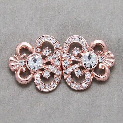 Rose Gold Vintage Style Rhinestone Crystal Wedding Closure Hook and Eye Clasp