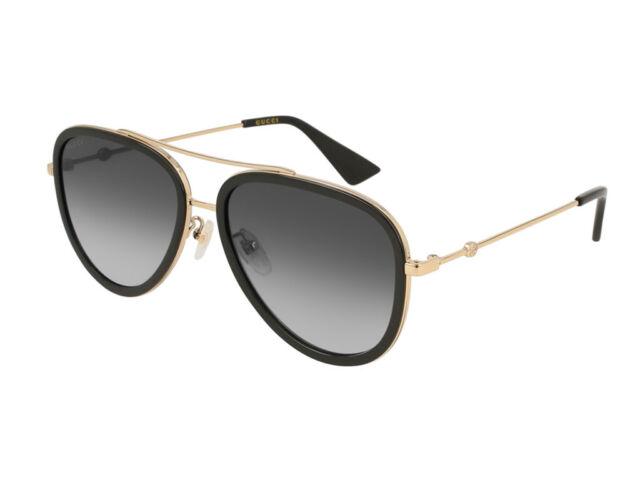 c53d663f28f Authentic Gucci Black Gold Sunglasses Gg0062s - 007 for sale online ...