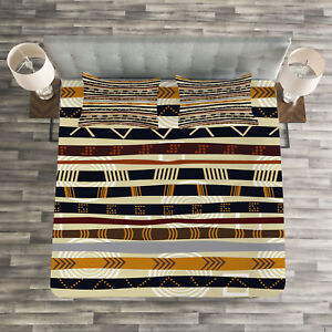 Tribal Quilted Bedspread /& Pillow Shams Set Ethnic African Design Print