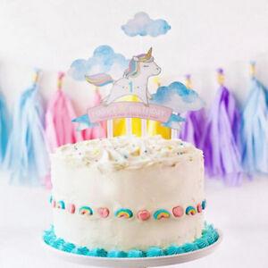 4x Set Regenbogen Einhorn Kuchen Topper Baby Shower Geburtstag