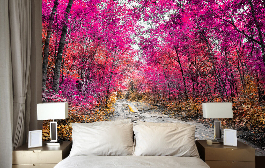 3D forest lila leaves Path Wall Paper Wall Print Decal Wall AJ WALLPAPER CA