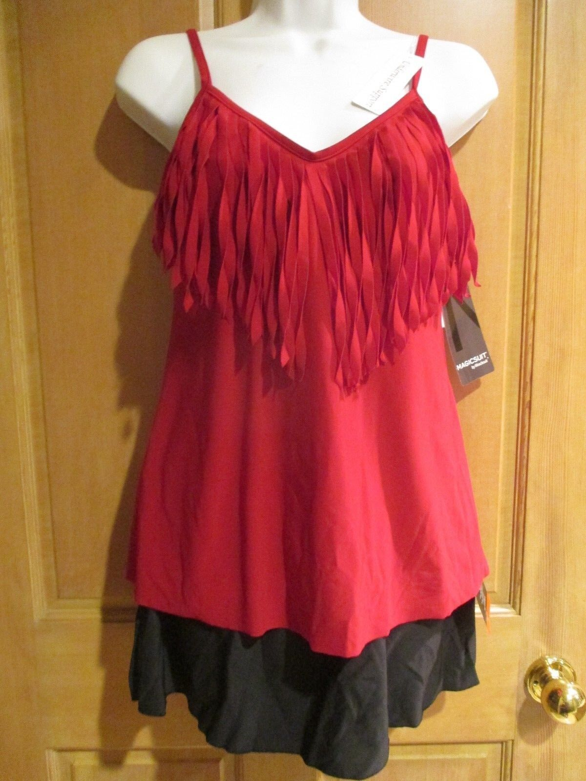 NEW Magicsuit MIRACLESUIT SWIMSUIT 8 2 Piece TANKINI JACLYN Fringe Red Skirt