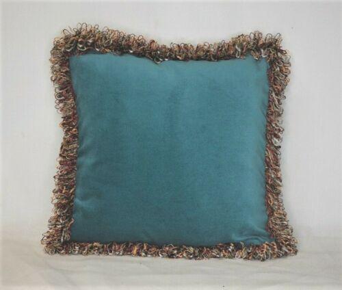 Бирюзовый и ржавый бордовый с бахромой бросить подушку для дивана или кресла ручной работы США