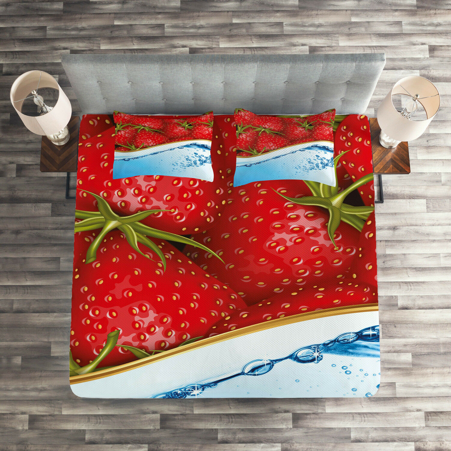 Strawberry Quilted Coverlet & Pillow Shams Set, Fruits Water Design Print
